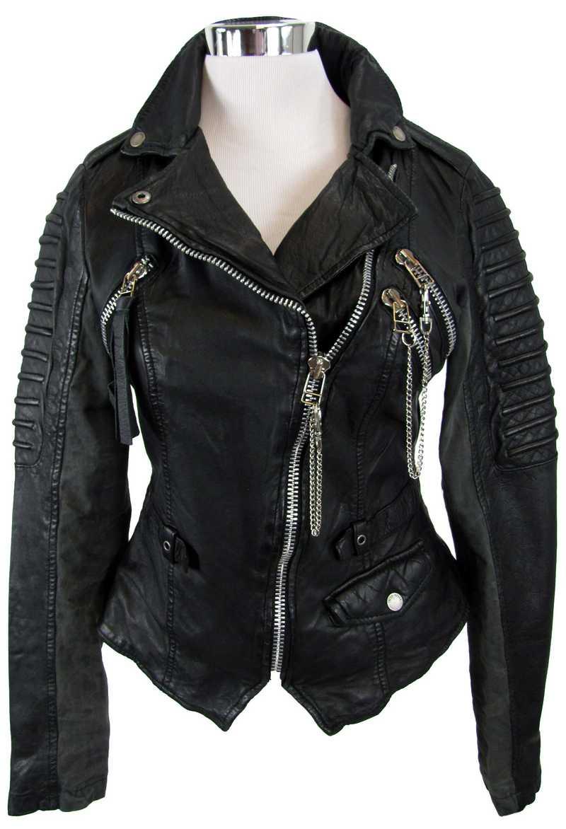 schwarze Bikerjacke aus Leder - Sophia Thomalla Kollektion