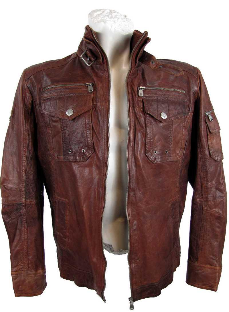 Rust-Rot Lederjacke für Herren