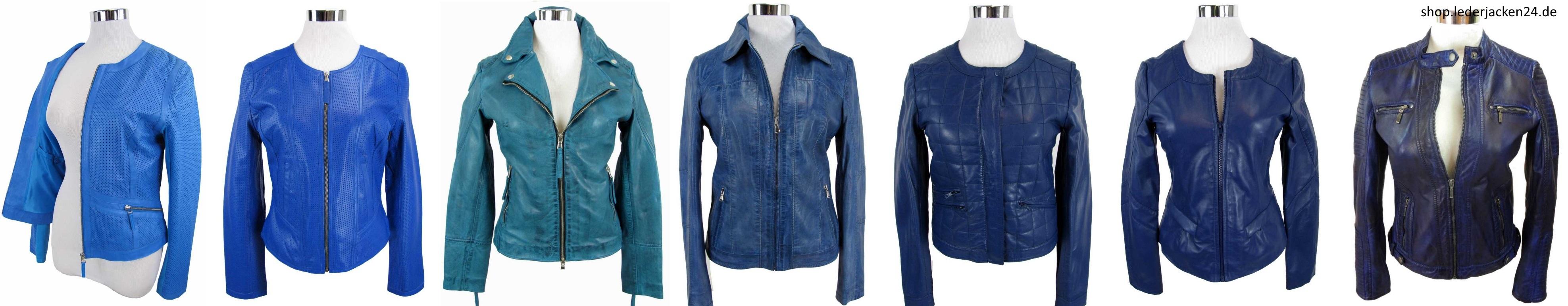 verschiedene blaue Lederjacken bei shop.lederjacken24.de
