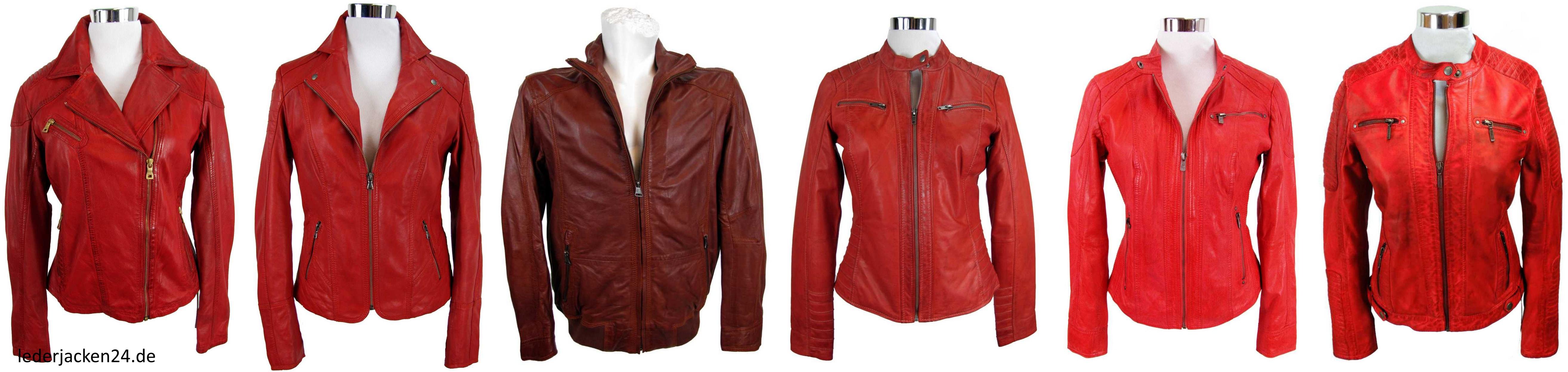 eine Auswahl von sechs roten Lederjacken von lederjacken24.de